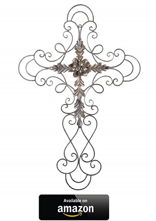 Adeco-Black-Scrolled-Flower-Wall-Cross