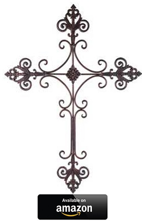 Elegant-Brushed-Metal-Fleur-De-Lis-Wall-Cross