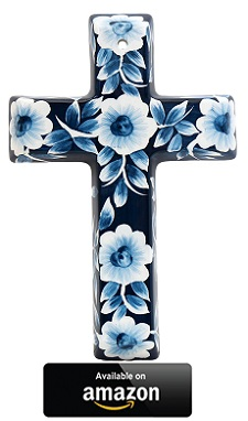 Precious-Home-Collection-Blue-Floral-Decoration-Cross